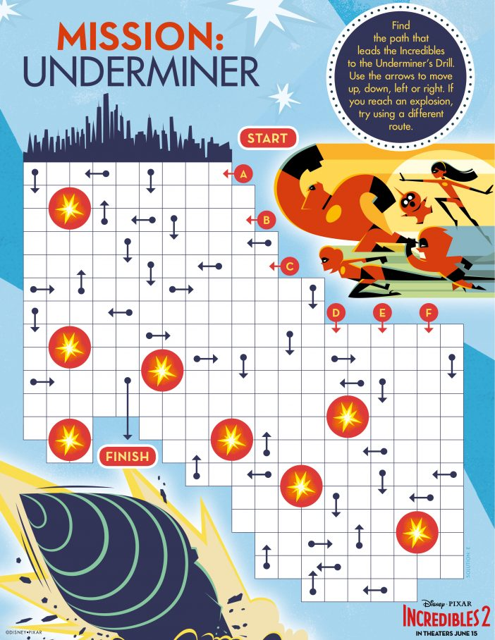 Incredibles 2 maze printable