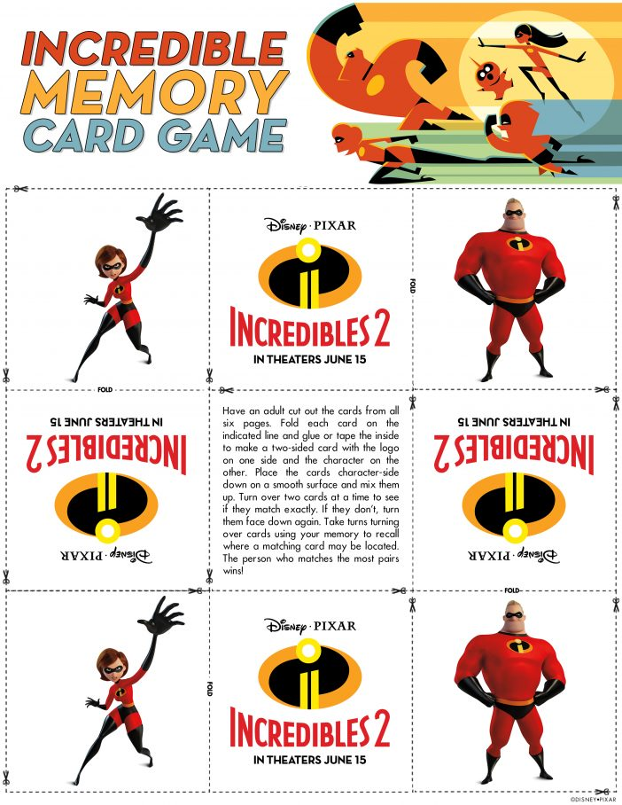 Incredibles 2 memory card game