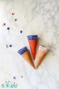 Patriotic Red, White, and Blue Ice Cream Cones