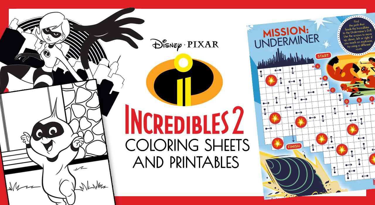 Incredibles 2 Coloring and Printable activity sheets. Free coloring pages.