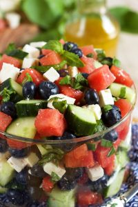Watermelon Blueberry Feta Salad with Cucumbers