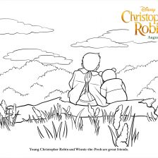 Christopher Robin with Pooh coloring