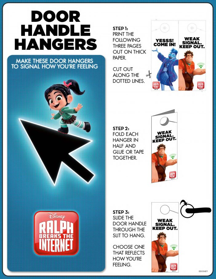 Ralph Breaks The Internet door hanger printables