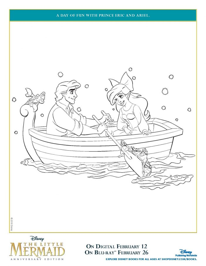 The Little Mermaid coloring page row boat