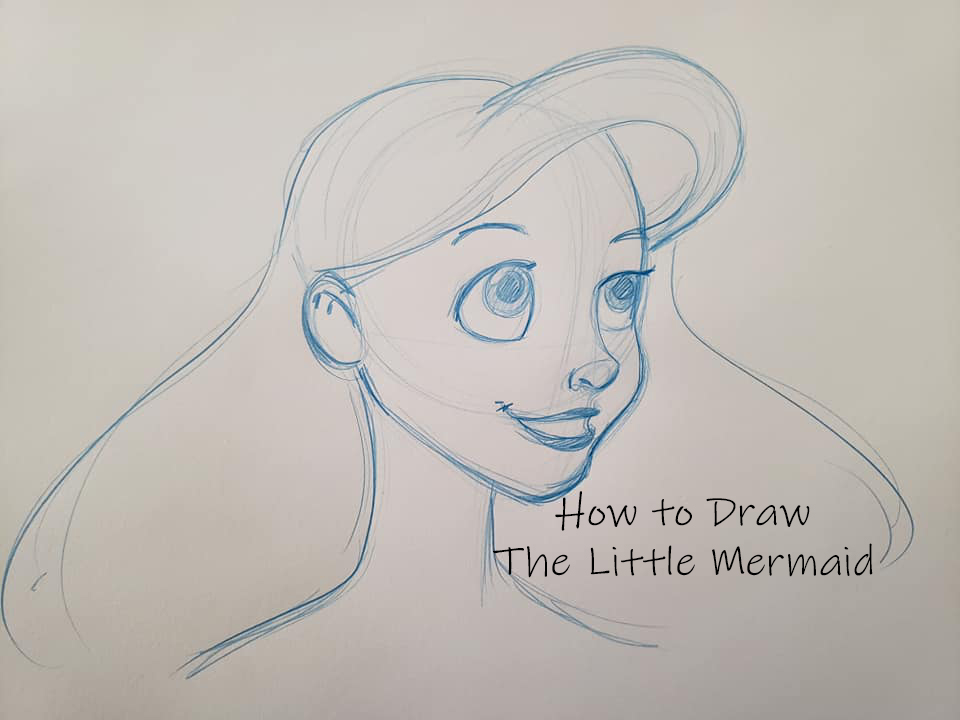 how to draw the little mermaid step by step for kids