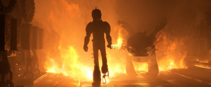 Hiccup walking through Fire in How to Train Your Dragon animated film