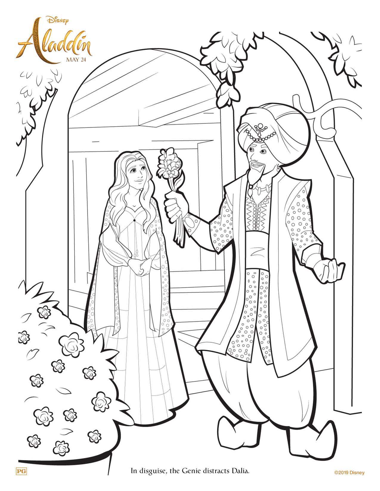 Aladdin Genie and Dalia coloring page