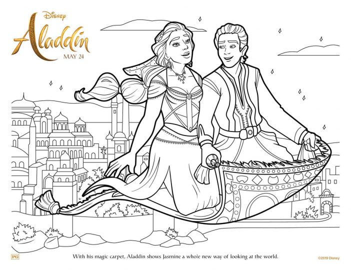 Aladdin Jasmine magic carpet coloring page