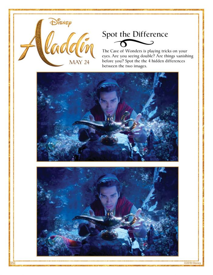 Aladdin Lamp spot the different printable