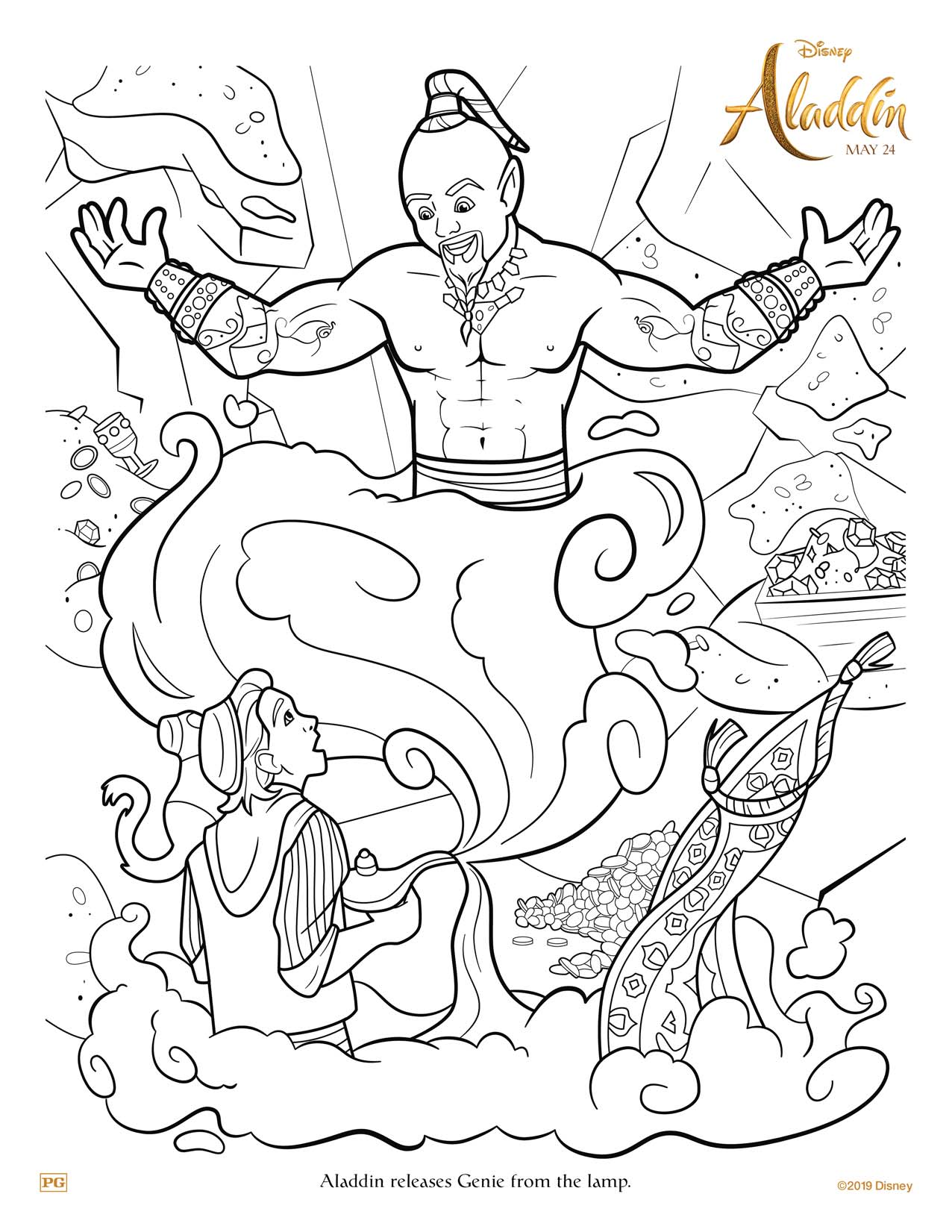 Aladdin and Genie coloring sheet