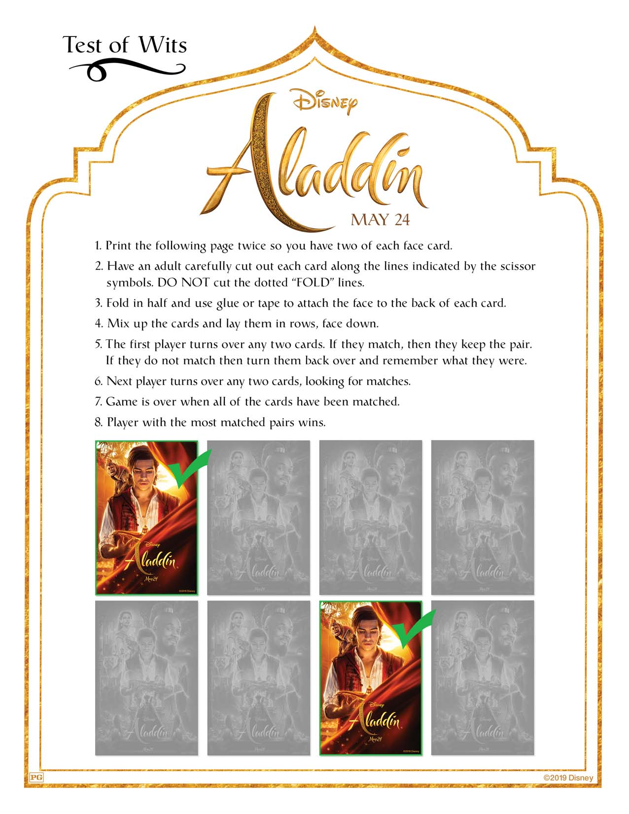 Aladdin card printable instructions