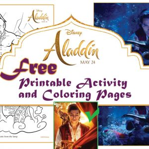 aladdin coloring page and printable activity sheets