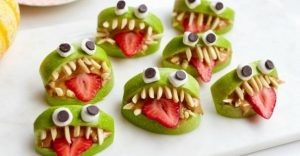 healthy halloween treat with fruit monsters