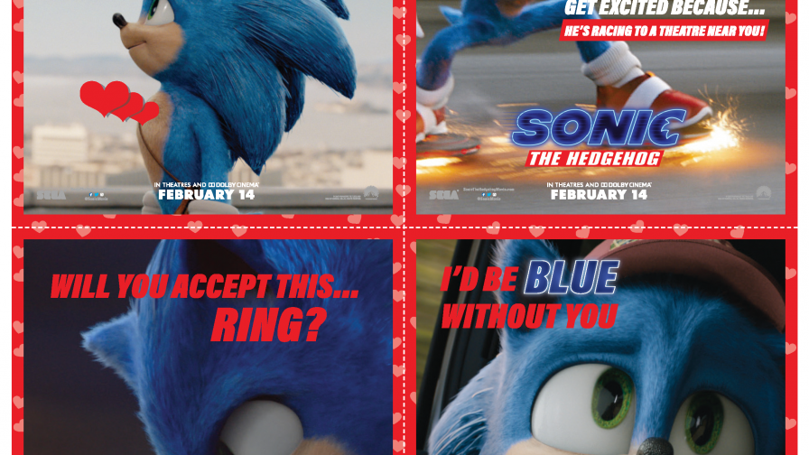 Sonic Valentine's Day printable cards
