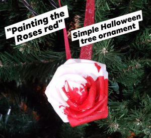 diy easy painting the roses red ornament creepy