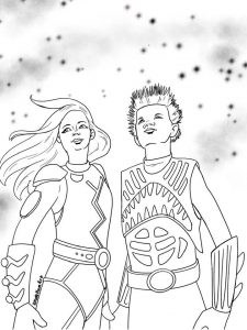 sharkboy and lava girl free coloring sheet printable