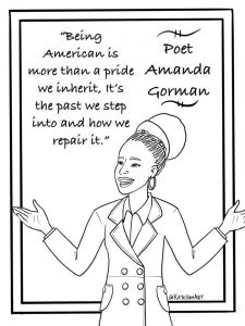 Amanda Gorman presidential inaguration poet printable coloring sheet