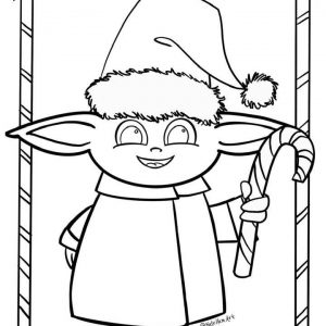 Baby Yoda Christmas Coloring Sheet - FREE Printable!