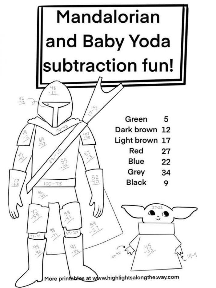 Baby Yoda Subtraction Color By Number printable Activity Sheet