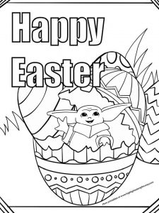 Baby Yoda Easter Egg Coloring Sheet