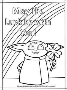 Baby Yoda St. Patrick's Day Coloring Sheet