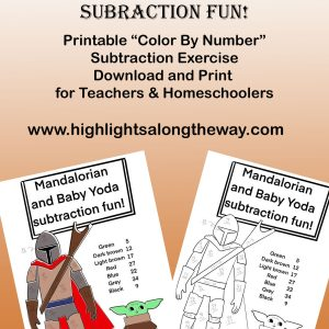 Color By Number Activity Sheets - Subtraction with Baby Yoda!