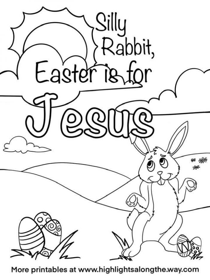 Silly Rabbit Easter is for Jesus Church Coloring Page