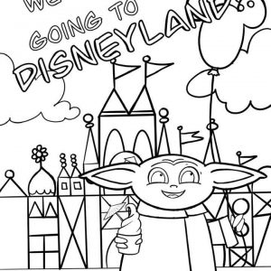 We Are Going to Disneyland! Baby Yoda Coloring Page