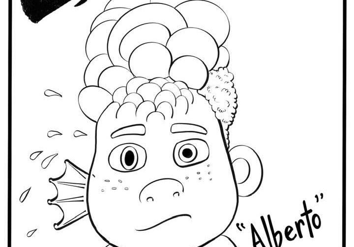 Coloring page of Alberto turing into a sea creature in Luca