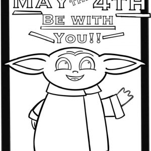 May the Fourth By With You - Baby Yoda Coloring Sheet