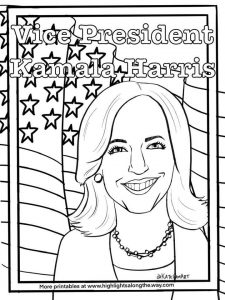 printable coloring page of Kamala Harris Vice President of the United States