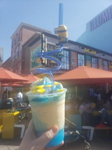 minions cafe felonious float universal studios hollywood banana and raspberry dessert with fancy collectible minion straw