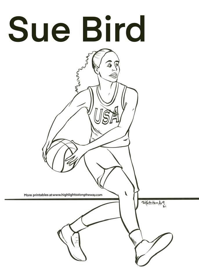 sue bird womans basketball olympics coloring page high resolution free printable