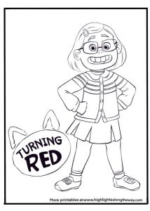 Turning Red Mei Mei Coloring Sheet free printable drawing page