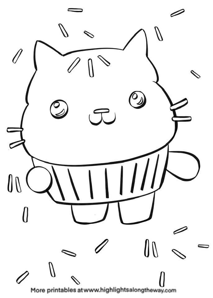 cakey cat from gabby's dollhouse coloring sheet free printable