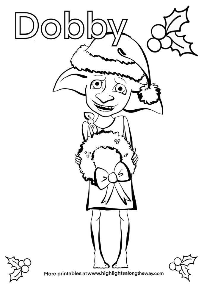 Dobby Harry Potter Christmas Coloring Page free printable from home computer